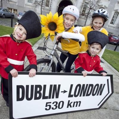 Portlaoise twins Patrick and Keelin O Farrell, their sister Sadbh O Farrell (9) and Samara Jones (10) launch the Irish Hospice Foundation annual cycle 2012