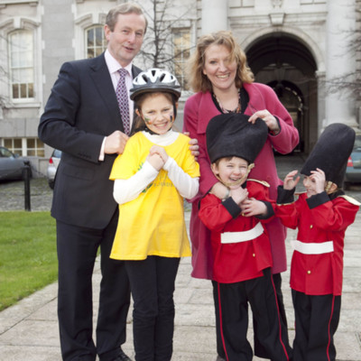 Taoiseach Enda Kenny with twins Patrick and Keelin O Farrell, their sister Sadbh and Irish Hospice Foundation CEO Sharon Foley launching Irish Hospice Foundation annual cycle 2012