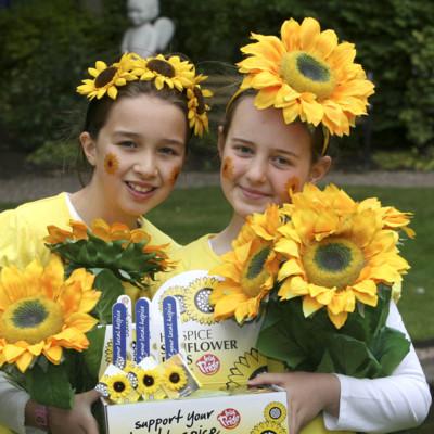 Samara Jones age 9, from Killiney and Tara O' Sullivan age 9 from Glasnevin launching Sunflower Days 2011