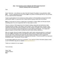Letter promoting Zest!Cookbook