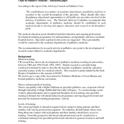 Chair in Palliative Medicine - Discussion Paper 2003.pdf